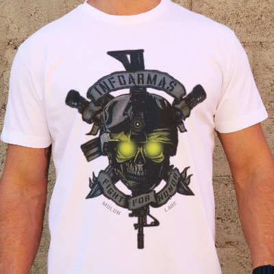 Camiseta Estonada Caveira Night Vision Branco