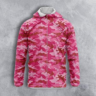 Jaqueta Corta Vento Feminino Camuflado Rosa