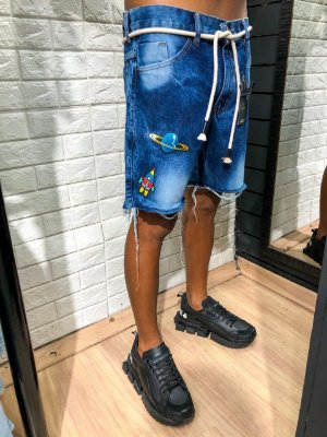 Bermuda curta jeans Pet de foguete