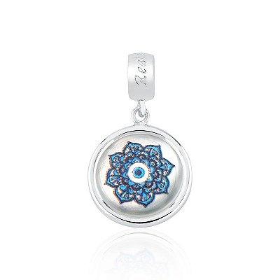Berloque Prata e Madrepérola Mandala Flor e Olho Grego