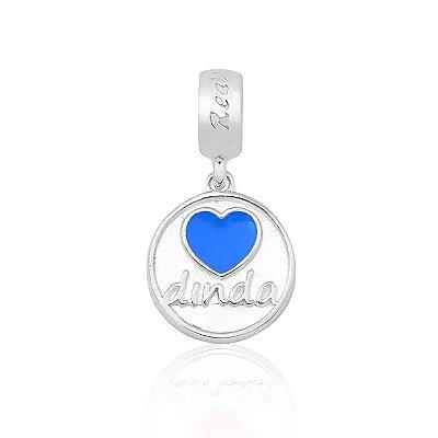 Berloque Prata Dinda/ Madrinha Coração Azul