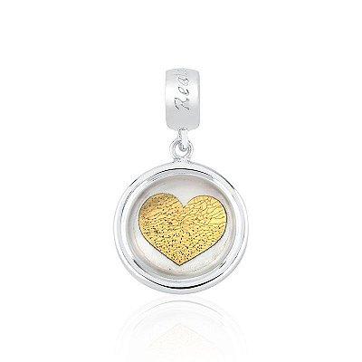 Berloque Prata e Madrepérola com Coração em Ouro Rosé