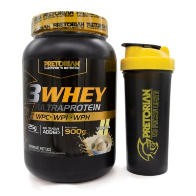 KIT 3WHEY ULTRA PROTEIN BAUNILHA 900GR + COQUETELEIRA PRETORIAN TRAINING