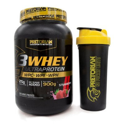 KIT 3WHEY ULTRA PROTEIN MORANGO 900GR + COQUETELEIRA PRETORIAN TRAINING
