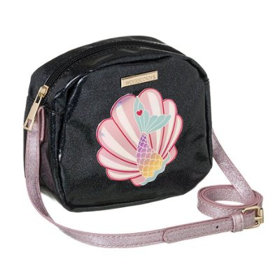 Bolsa Infantil World Colors Conchinha Preta Gliter e Rosa