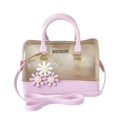 Bolsa Infantil World Colors Mini-Baú Flores Rosa Gliter