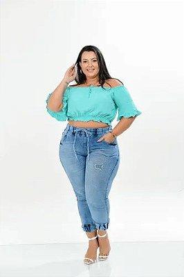 Calça Jeans Plus Size Jogger Premium Com Lycra
