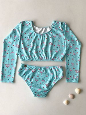 Cropped Infantil Manga Longa Flamingo Love