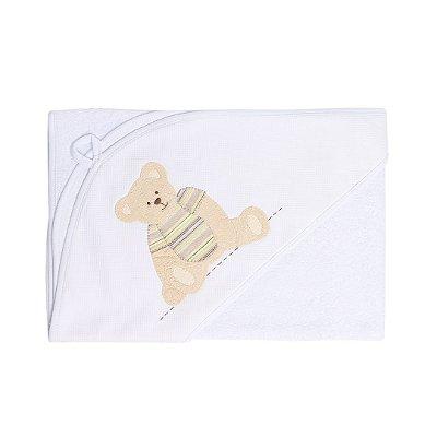 Toalha de Banho com Capuz Patchwork - Urso