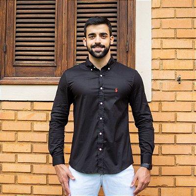 Camisa Social Polo Preta - Custom Fit