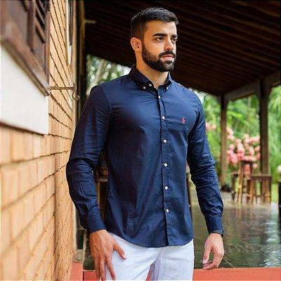 Camisa Social Polo Azul Marinho - Custom Fit