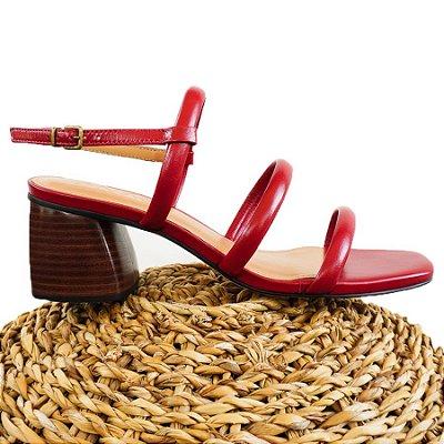 Sandália Três Tiras Vermelha