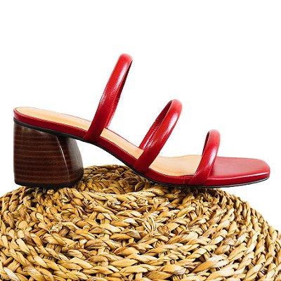 Sandália Três Tiras Vermelha (Mule)