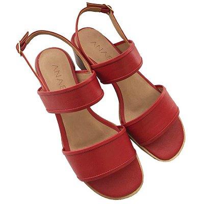 Sandália Duas Tiras Vermelha