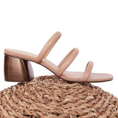 Sandália Três Tiras Areia (Mule)
