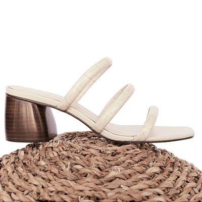 Sandália Três Tiras Off White (Mule)