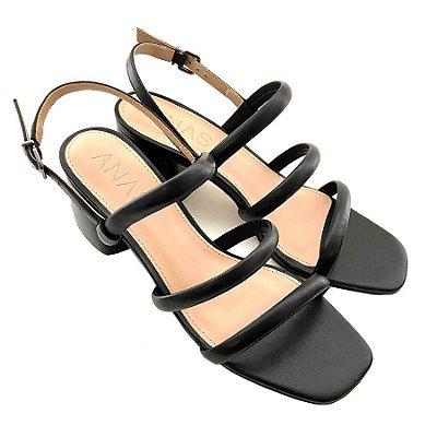 Sandália Três Tiras Preta