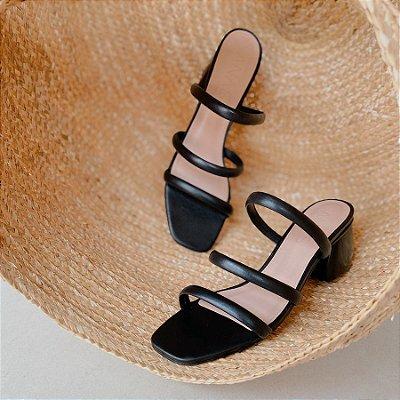 Sandália Três Tiras Preta (Mule)