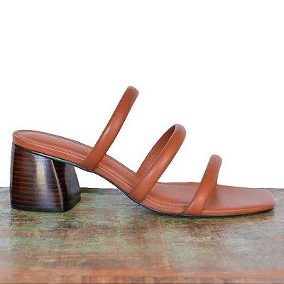 Sandália Três Tiras Canela (Mule)