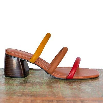 Sandália Três Tiras Colorida (Mule)