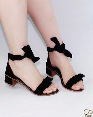 Sandália Preta Veludo Laço