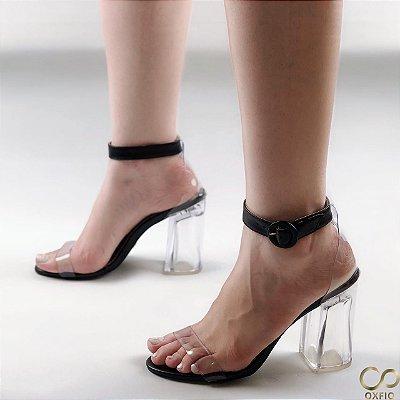 Sandália Preta Salto Transparente