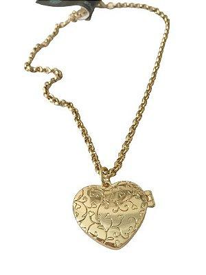 Relicário Dourado Coração Corrente Grossa