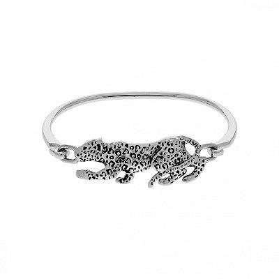 Bracelete Onça Prateada ou Dourada Banho de Verniz Moda Estilo