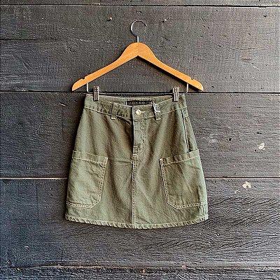 Saia Jeans Verde Militar Lady Rock