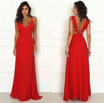Vestido Longo Costas c/ Babados Vermelho