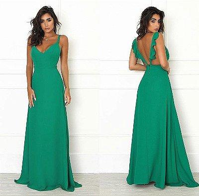 Vestido Longo Costas c/ Babados Verde Bandeira