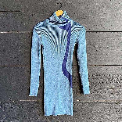 Vestido Tricot Gola Alta Azul Jeans