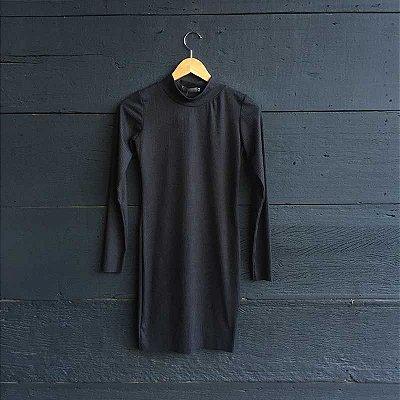 Vestido Canelado Aveludado Preto