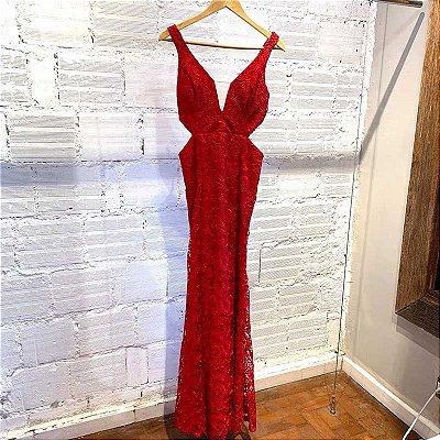Vestido Longo Guipir Cereja