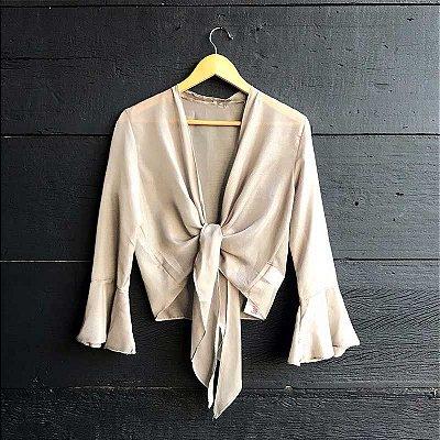 Blusa Cropped Amarração Caqui