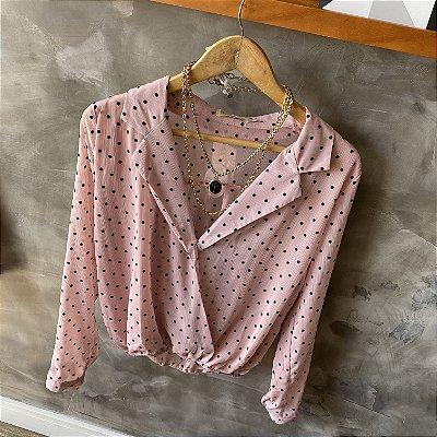 Camisa Transpassada Poá Blush