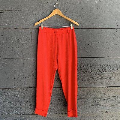 Calça Acetinada Barra Italiana Vermelha