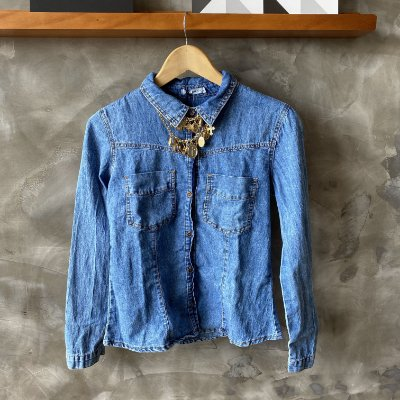 Camisa Jeans Lavagem Media Lady Rock