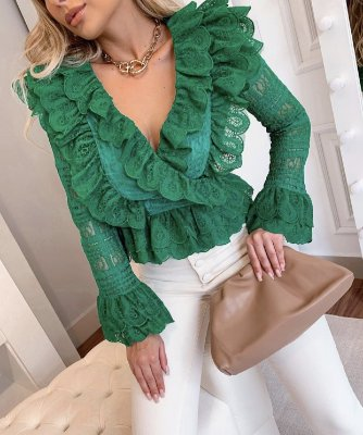 Camisa Renda Luxo Verde Bandeira