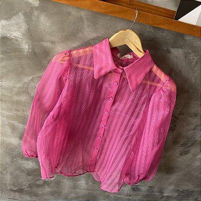 Camisa Manga Bufante c/ Transparência Pink
