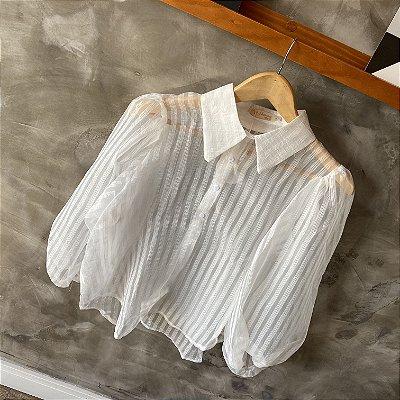 Camisa Manga Bufante c/ Transparência Branca