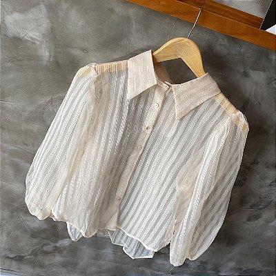 Camisa Manga Bufante c/ Transparência Pêssego