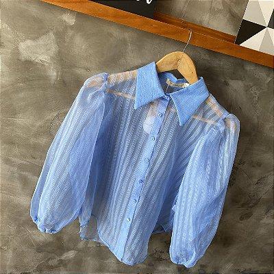 Camisa Manga Bufante c/ Transparência Azul