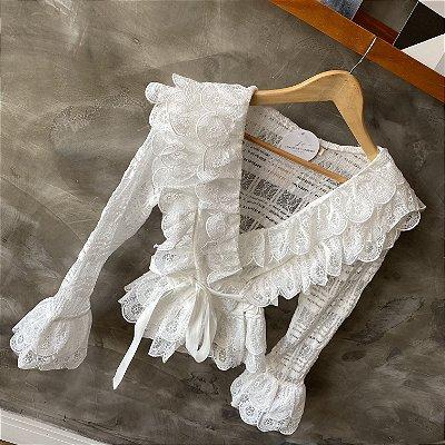 Camisa Renda Luxo Branca