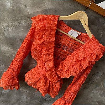Camisa Renda Luxo Coral