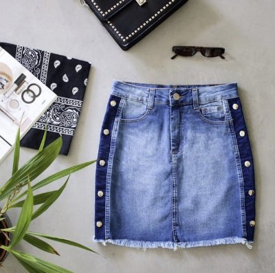 Mini Saia Jeans Taxa Lateral