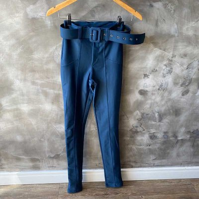 Calça Malha Prada c/ Cinto Azul Carbono