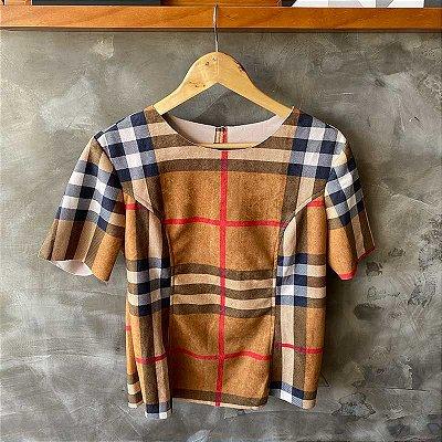 Tshirt Suede Xadrez Burberry