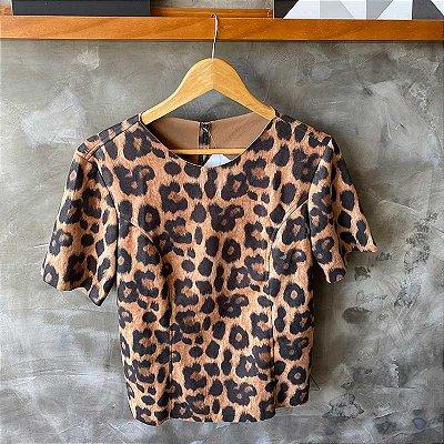 Tshirt Suede Animal Print Onça