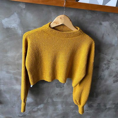 Tricot Over Cropped Mostarda